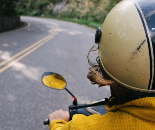 Woman riding a moped in Lancaster County